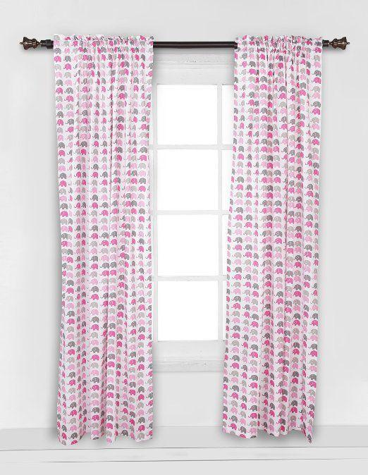 Amazon Com Elephants Pink Grey Mini Elephants Curtain Panel Baby Elephant Curtains Panel Curtains Pink And Grey Bedding
