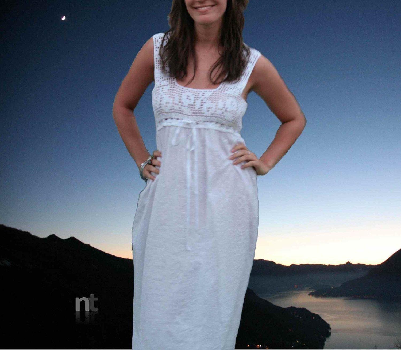 Notte Bianca, crochet filet nightgown pattern