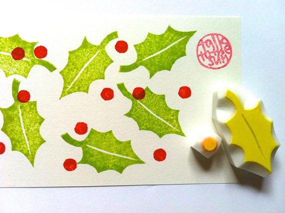 Photo of Sello de navidad |  Holly Leaf & Berries Sellos postales |  Sellos tallados a mano de plantas botánicas para diy navidad, fabricación de tarjetas, impresión de bloques