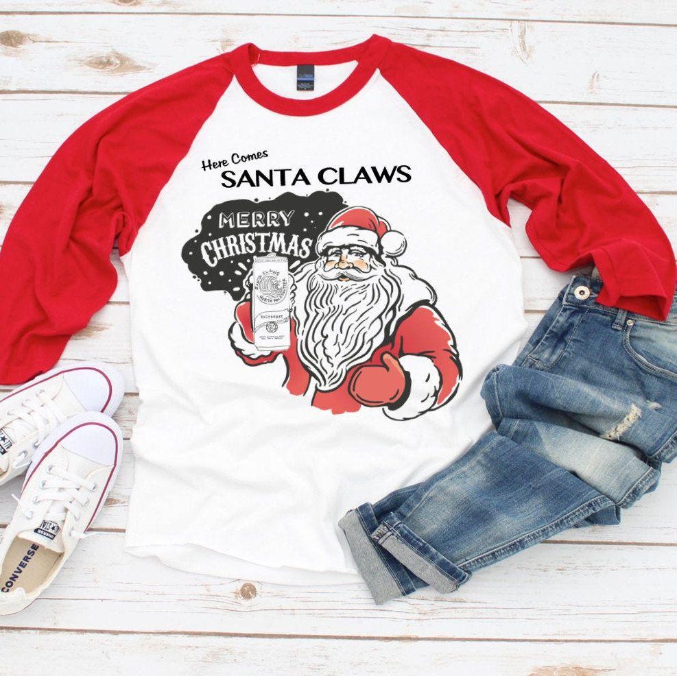 Santa Claws Funny Christmas Shirt T Shirt Tee 3 4 Sleeve Raglan Shirt White Claw Funny Christmas Shirts Christmas Shirts Raglan Shirts [ 986 x 987 Pixel ]