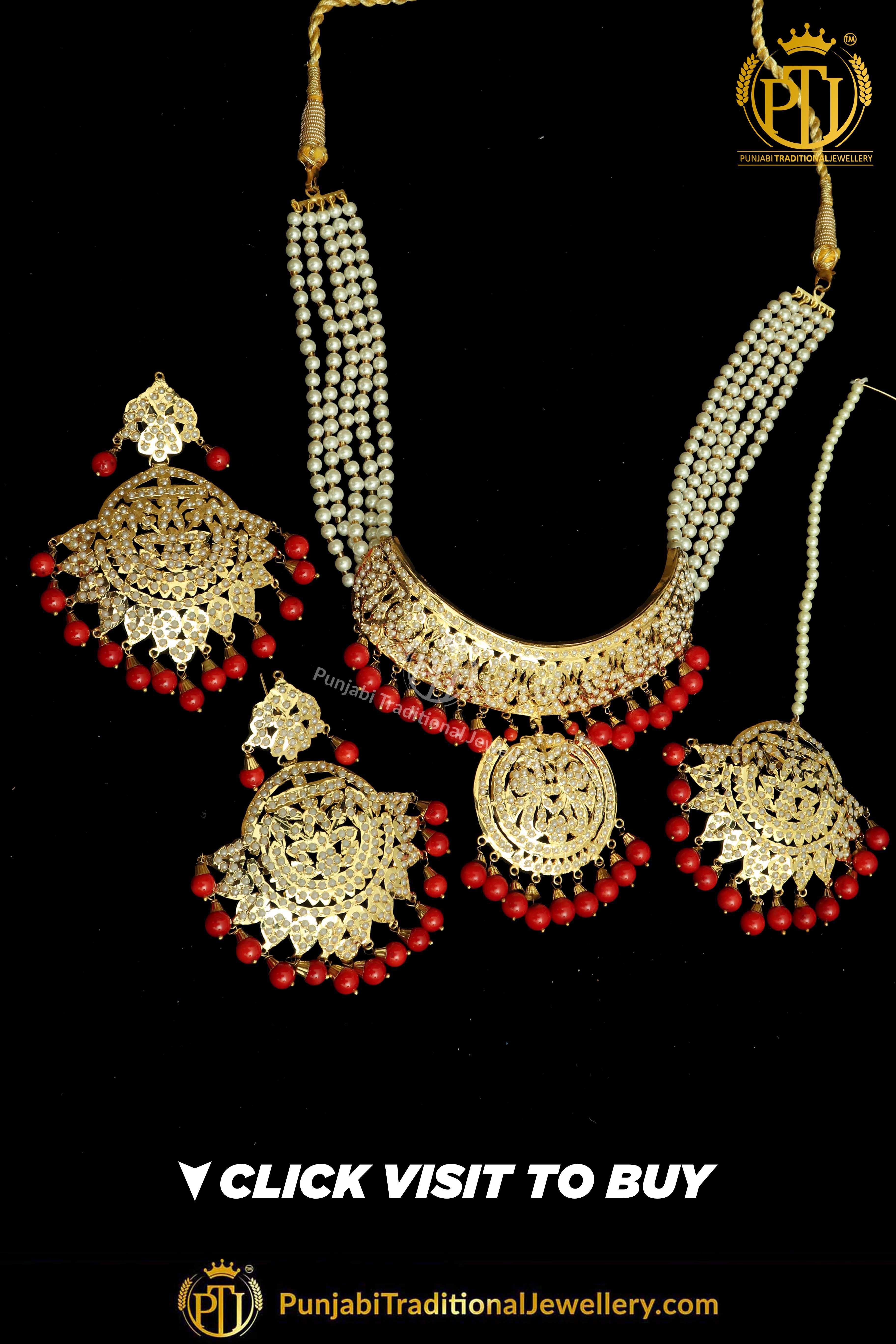 00d878f8f Punjabi Traditional Jewellery · Necklace Set · Chokers · Pinterest:  @PunjabiJewellery Gold Finished Red Jadau Choker Necklace Set You may  visit: http