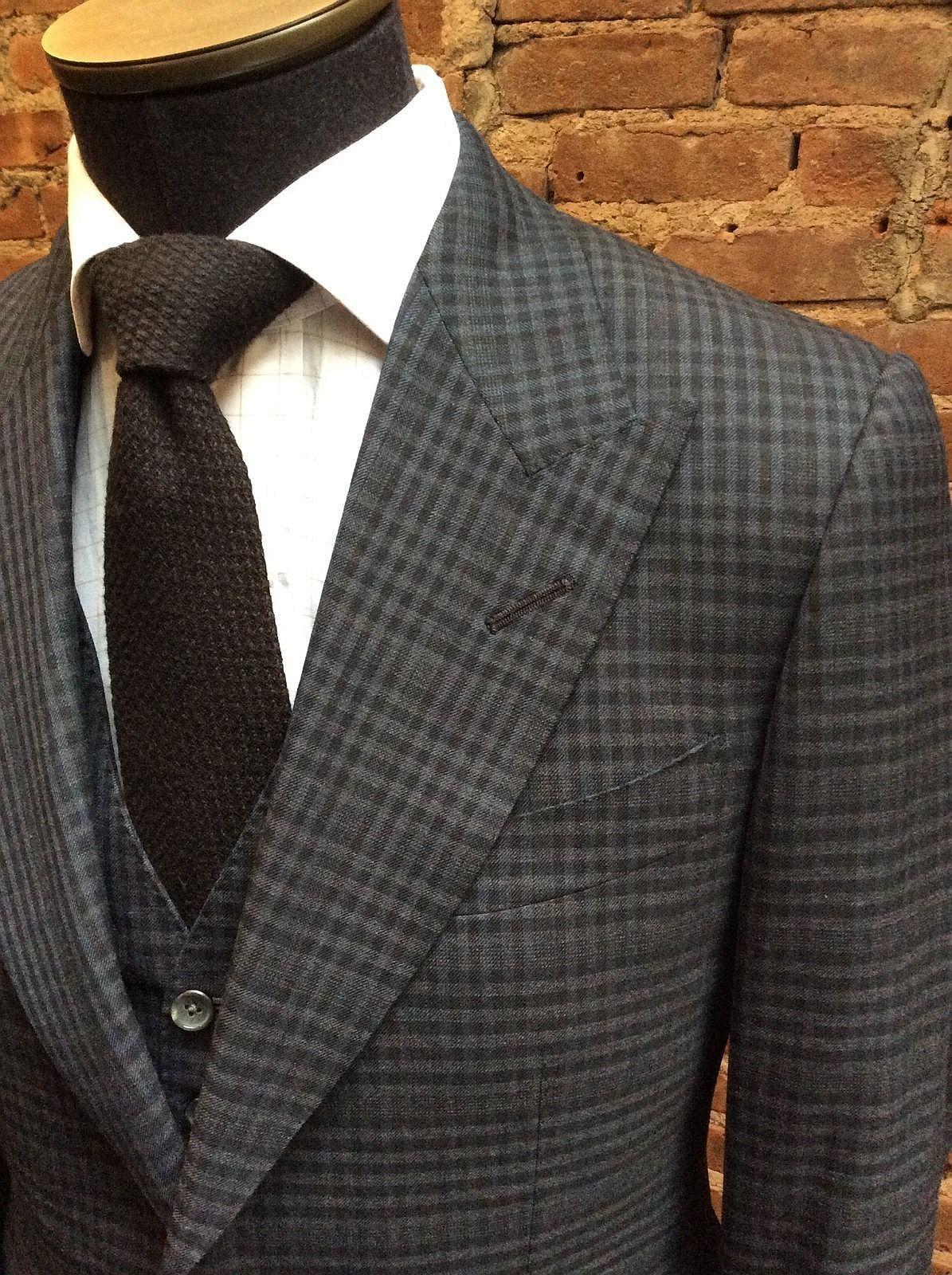 Tom Ford Suit Men' Pre-owned Custom 3 Piece Plaics & Checks Two Button Designer