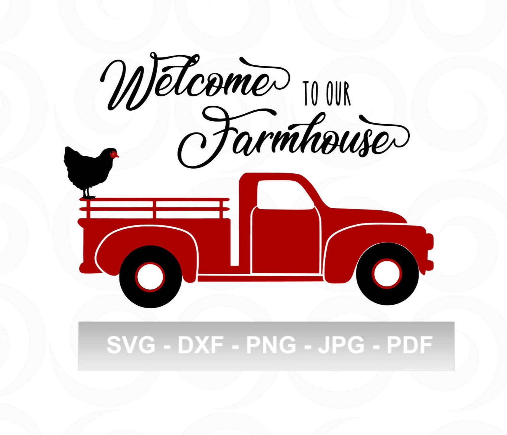 Vintage Red Truck with chicken and to our