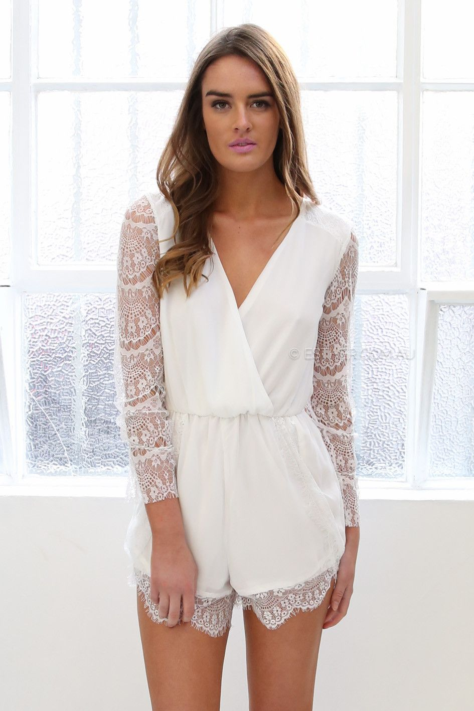 59257541341a emma playsuit - white