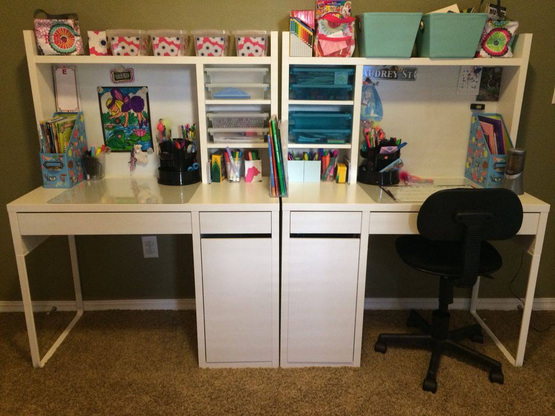 Shared Kid Desk Area Kid Homework Station Double Desk In Playroom Design Or Bonus Room Study Area Kidbedroomide Ikea Kids Room Kids Room Shelves Double Desk