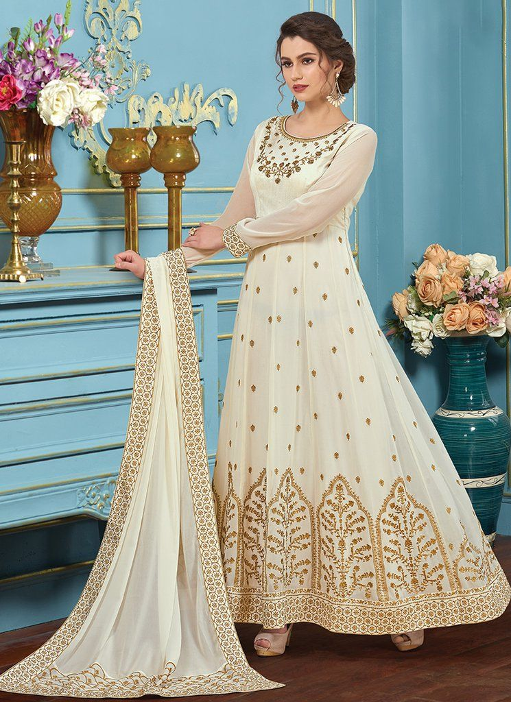 8e0cb9419f White and Gold Georgette Embroidered Anarkali Suit | Indian ...