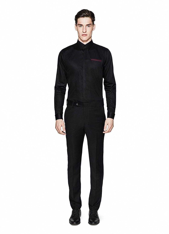 Mens Sweat Proof Shirt Black Slim Fit With Windsor Wine Welt Pocket