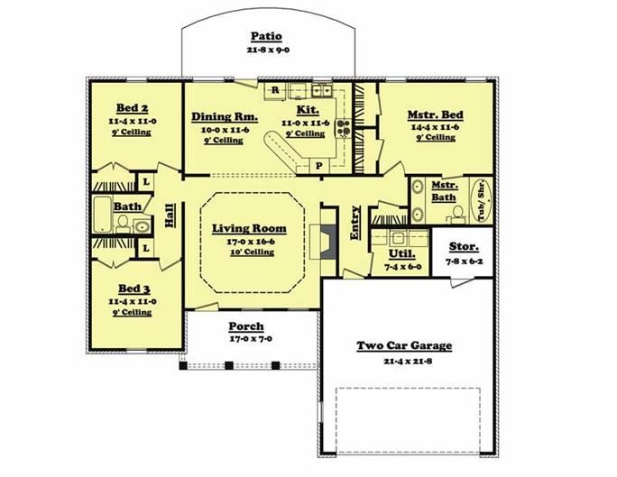 1400 square foot house plan. 3 bedroom, 2 bath. Add stairway to ...