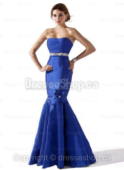 Formal Evening Dresses — Trumpet/Mermaid Strapless Satin Floor-length Royalblue Beading Evening Dress at Dresseshop.ca