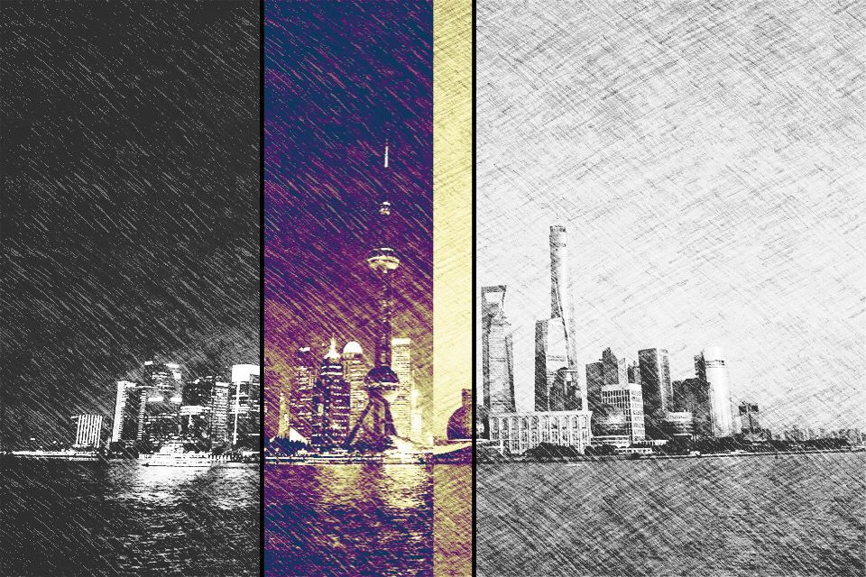Night and day in Shanghai