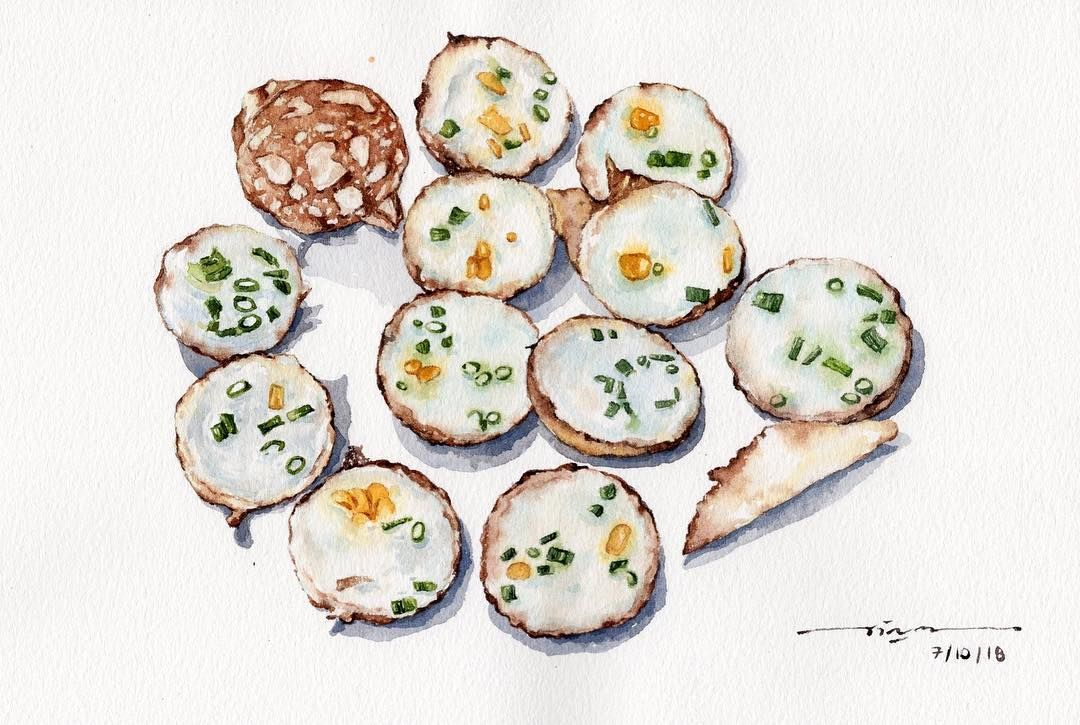 Thai Coconut Milk Hotcakes Watercolor Watercolorart Waterblog