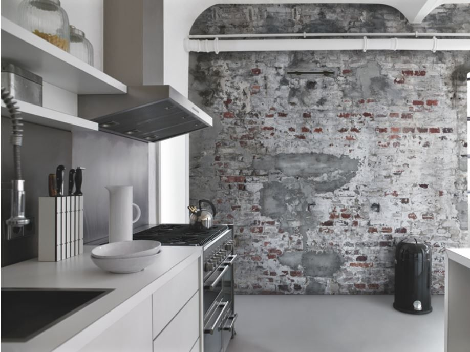 Carta da parati Milano | CARTA DA PARATI | Kitchen wallpaper, Brick ...