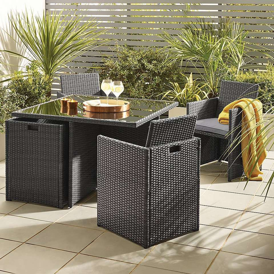 Gobi Grey 4 Seat Cube Set Dunelm Garden furniture sets