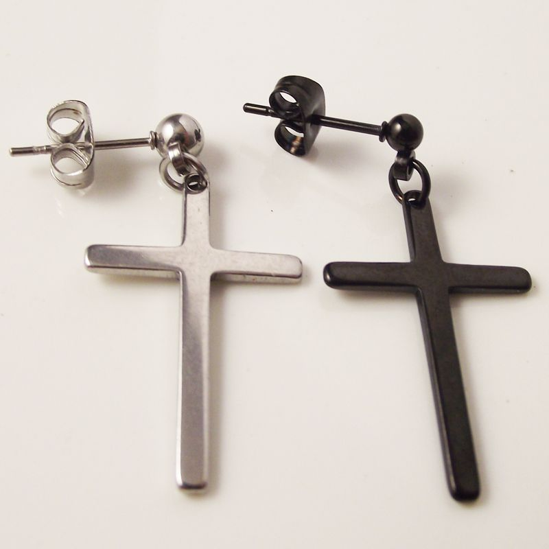2 pieces Black Silver Punk Rock Post Stainless Steel Cross Stud ...