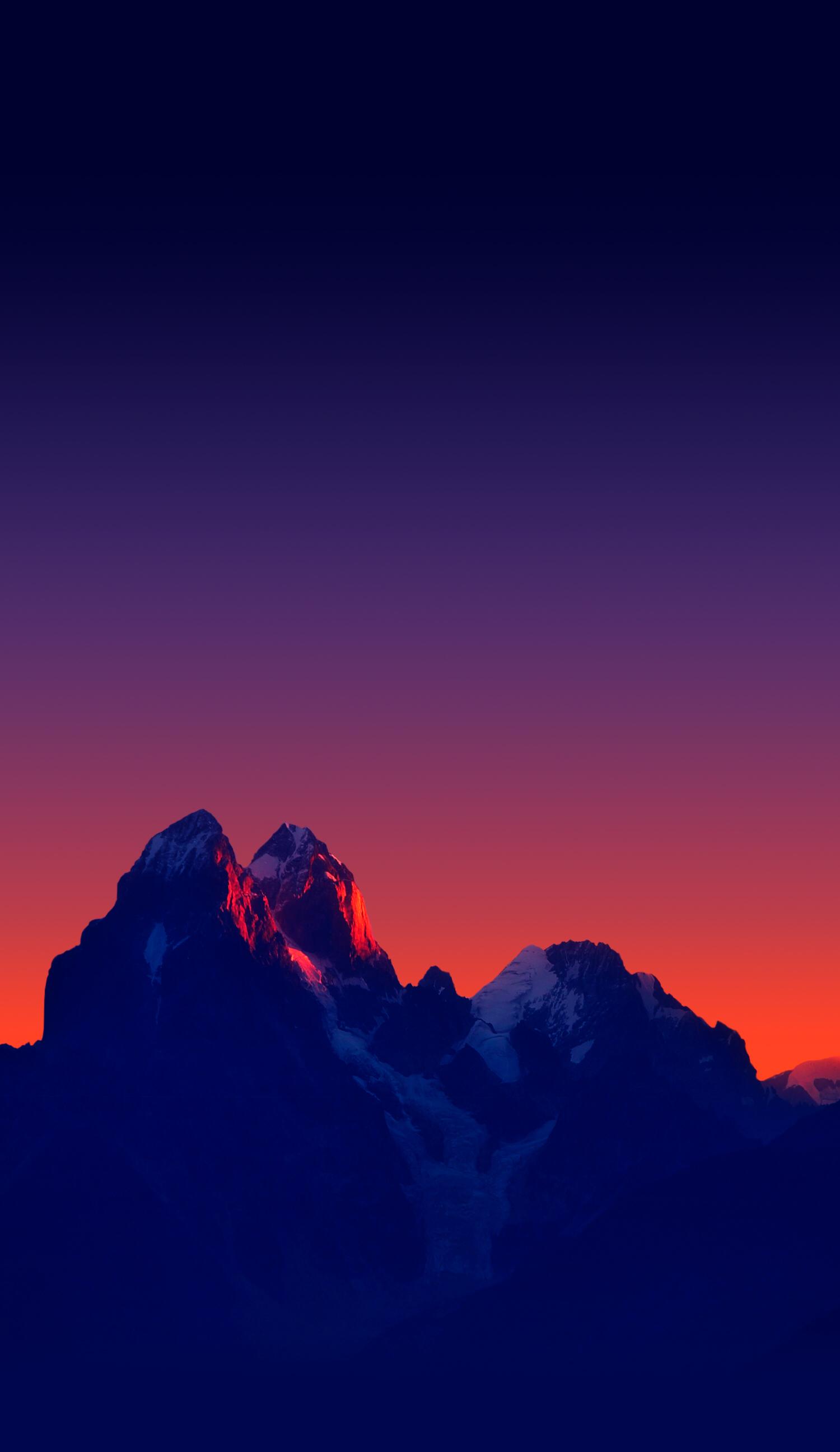 Navy blue mountains Sunset iphone wallpaper, Landscape