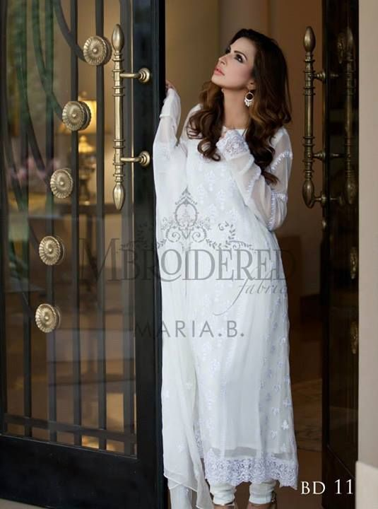 Maria B Mbroidered Fabrics Silk Chiffon Collection For Spring 2014 | BestStylo.com