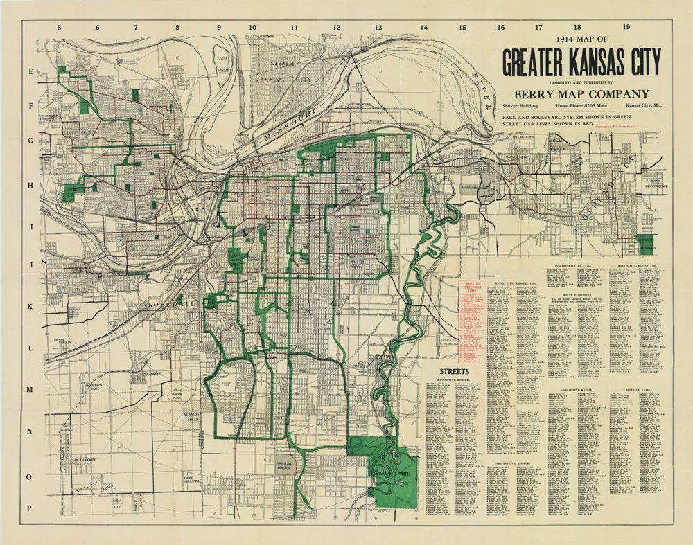 Kansas City Missouri Berry Street Car Antique Vintage Map - Map of kansas city