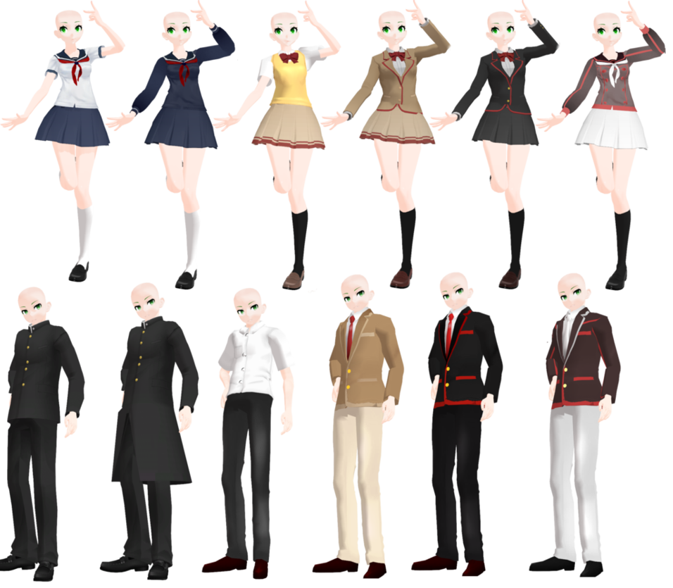 [MMD] All Yandere Simulator Uniforms by DrasiSw on DeviantArt | Yandere Simulator | Pinterest ...