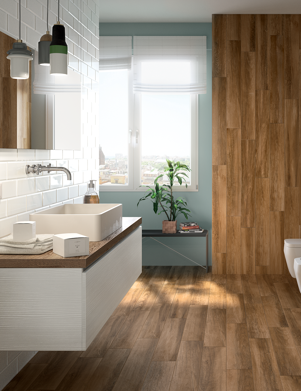Photo of Il gres effetto legno Teak oliato trasforma il tuo bagno moderno in un'oasi accog …