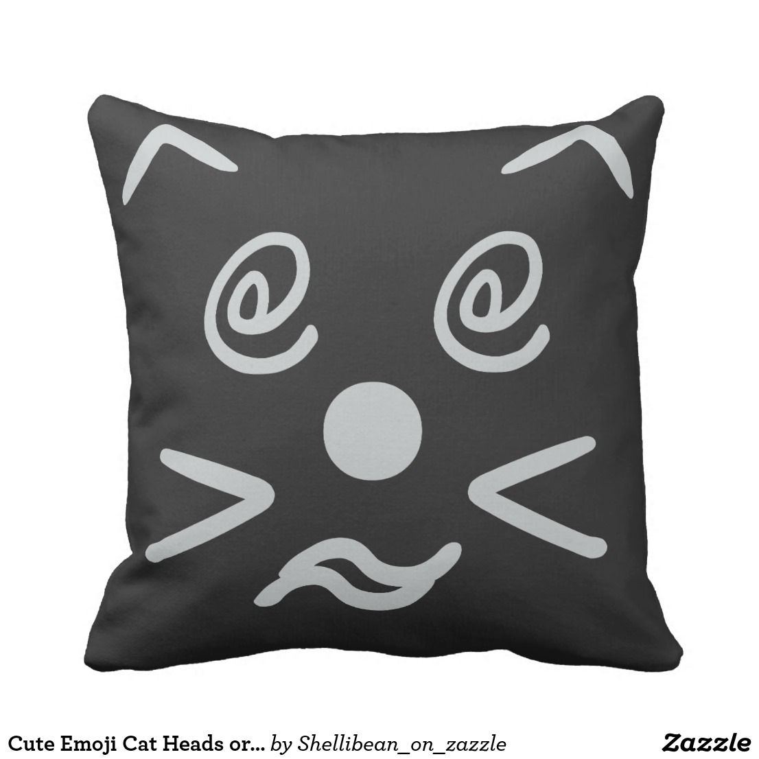 Cute emoji cat heads or tails throw pillow emoji pillows