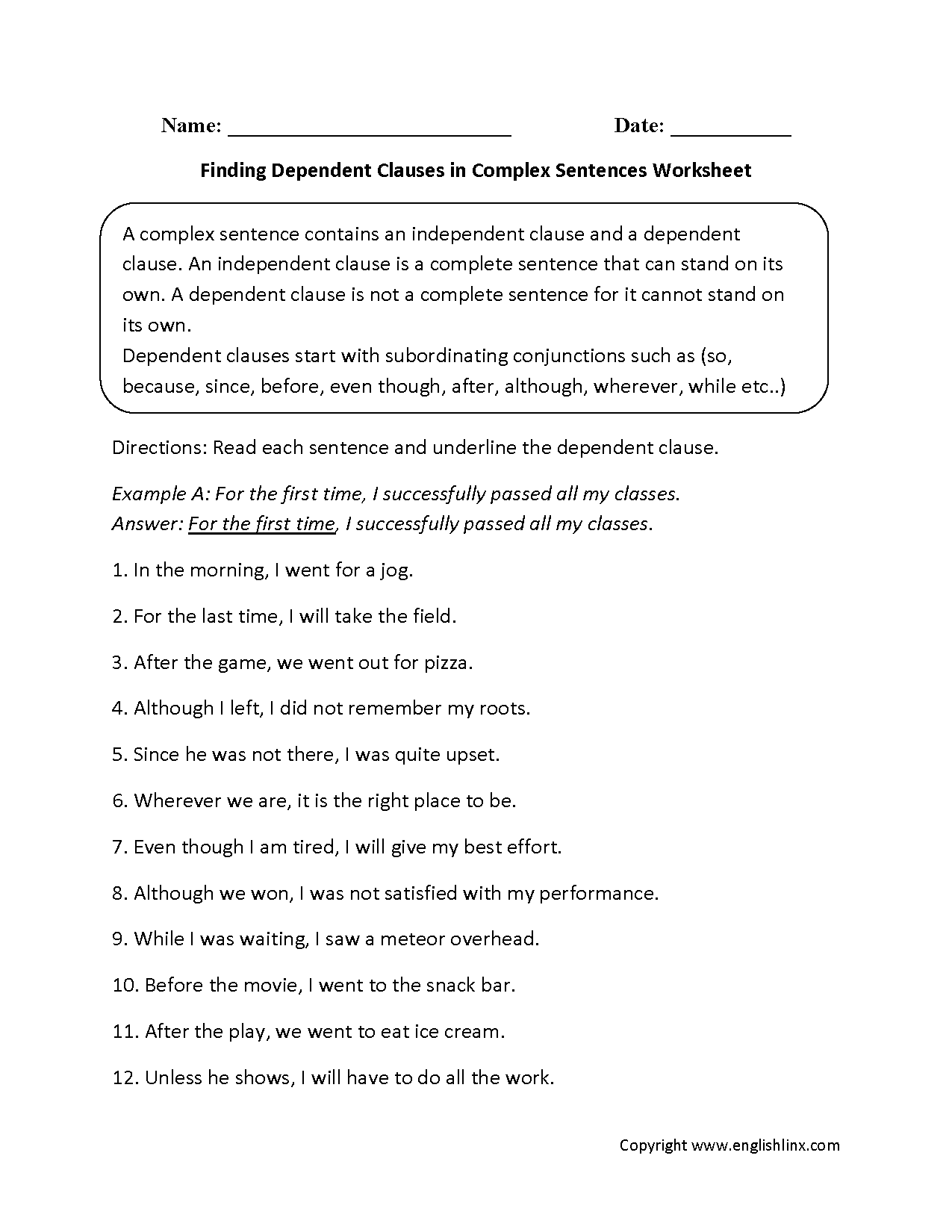 Finding Dependent Clauses plex Sentences Worksheets