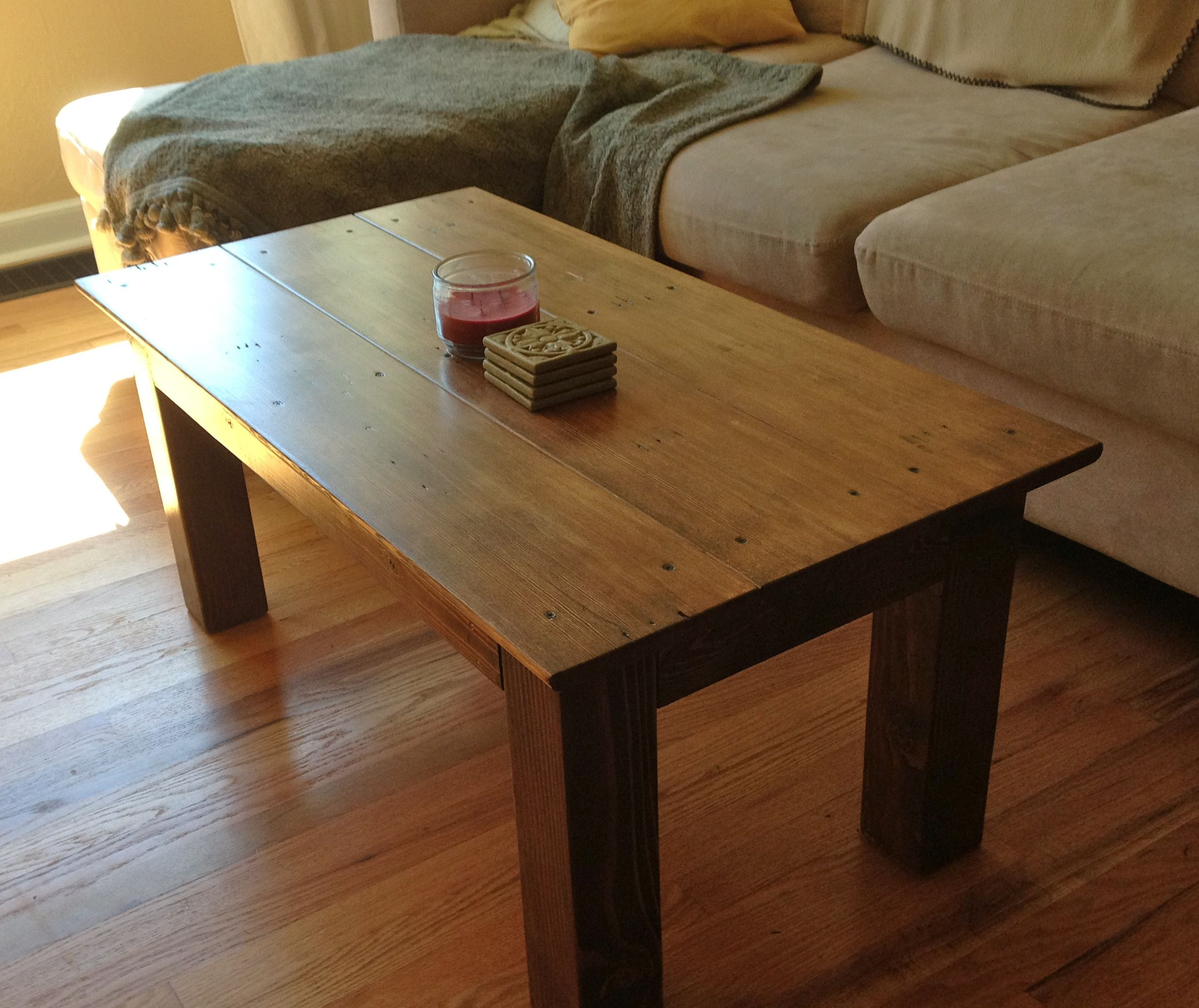 Coffee Table Made From X X And Repurposed Base Trim - Charming vintage diy sawhorse coffee table