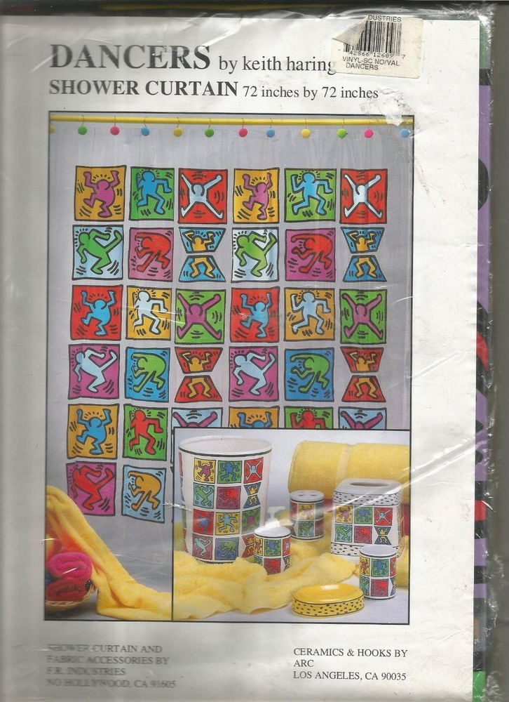NIP Dancers Keith Haring Shower Curtain 72 X Vinyl Dancing Colorful NEW