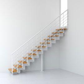 Escalier Droit Metal Et Bois Magia 90xtra L 70 Cm 10 Marches Blanc