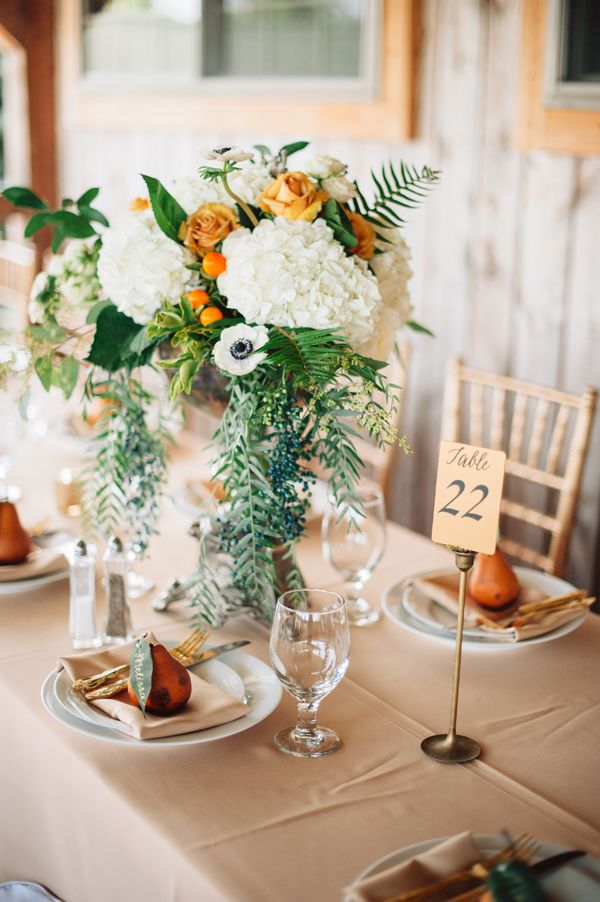 Chic Autumn Wedding In Pennsylvania Tall Wedding Centerpieces