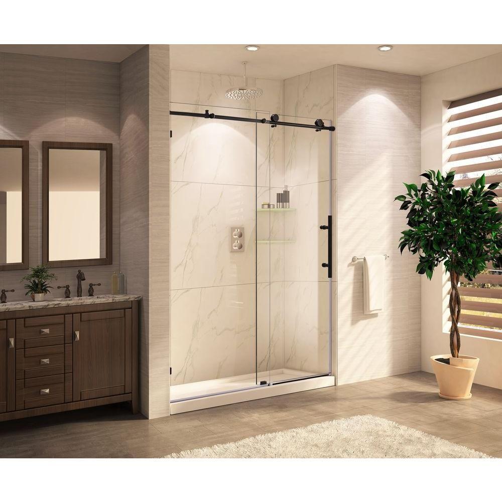 Lesscare clear glass shower door ultra b 44 48 wide x 76 high chrome - Wet Republic Trident Mocha Premium 60 In X 76 In Frameless Sliding Shower Door