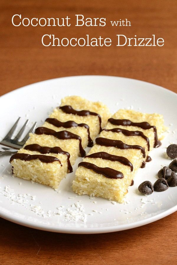These coconut bars with chocolate drizzle are a delicious treat. Coconut has so many health benefits, and you can't go wrong with chocolate on top. Great healthy dessert recipe!