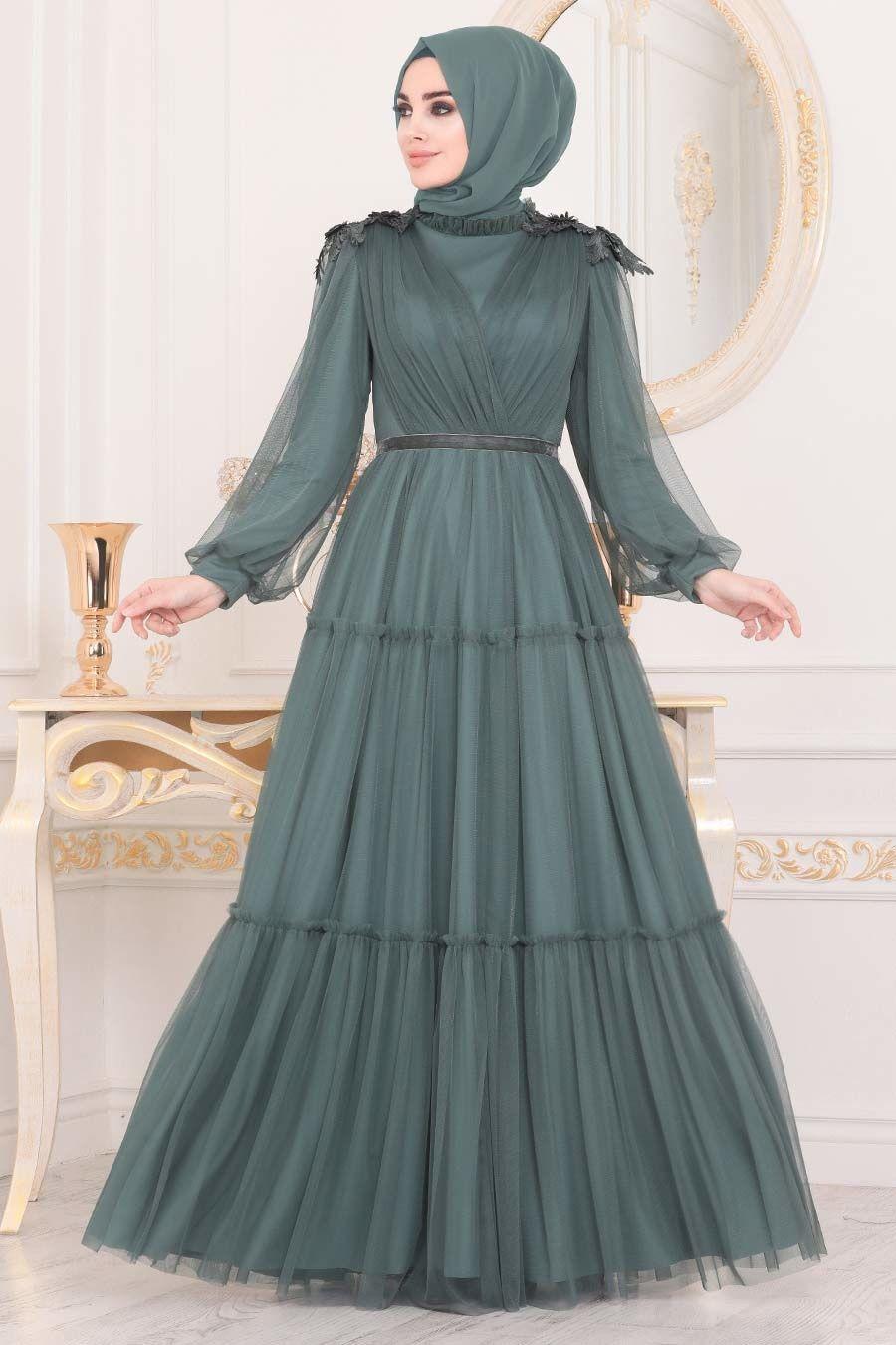 Tesetturlu Abiye Elbise Omuzlari Detayli Yesil Tesettur Abiye Elbise 4072y Tesetturisland Com 2020 Elbise Parti Elbiseleri Islami Giyim