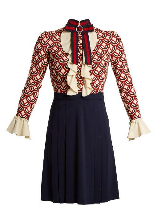 Gucci Vintage Circle Print Stretch Cady Dress Vintage Dress Blue Striped Navy Dress Gucci Dress