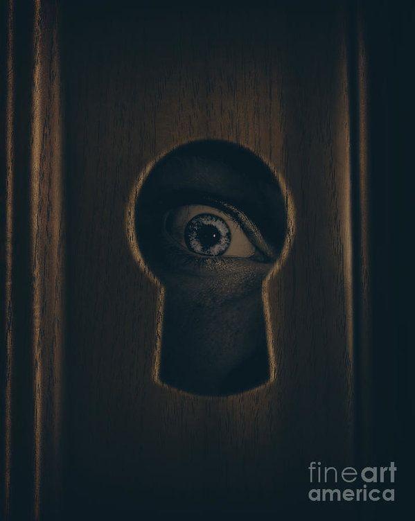 Closeup photograph of a human eye looking through a door keyhole in a spying surveillance & Eye Looking Through Door Keyhole Art Print by Jorgo Photography ...