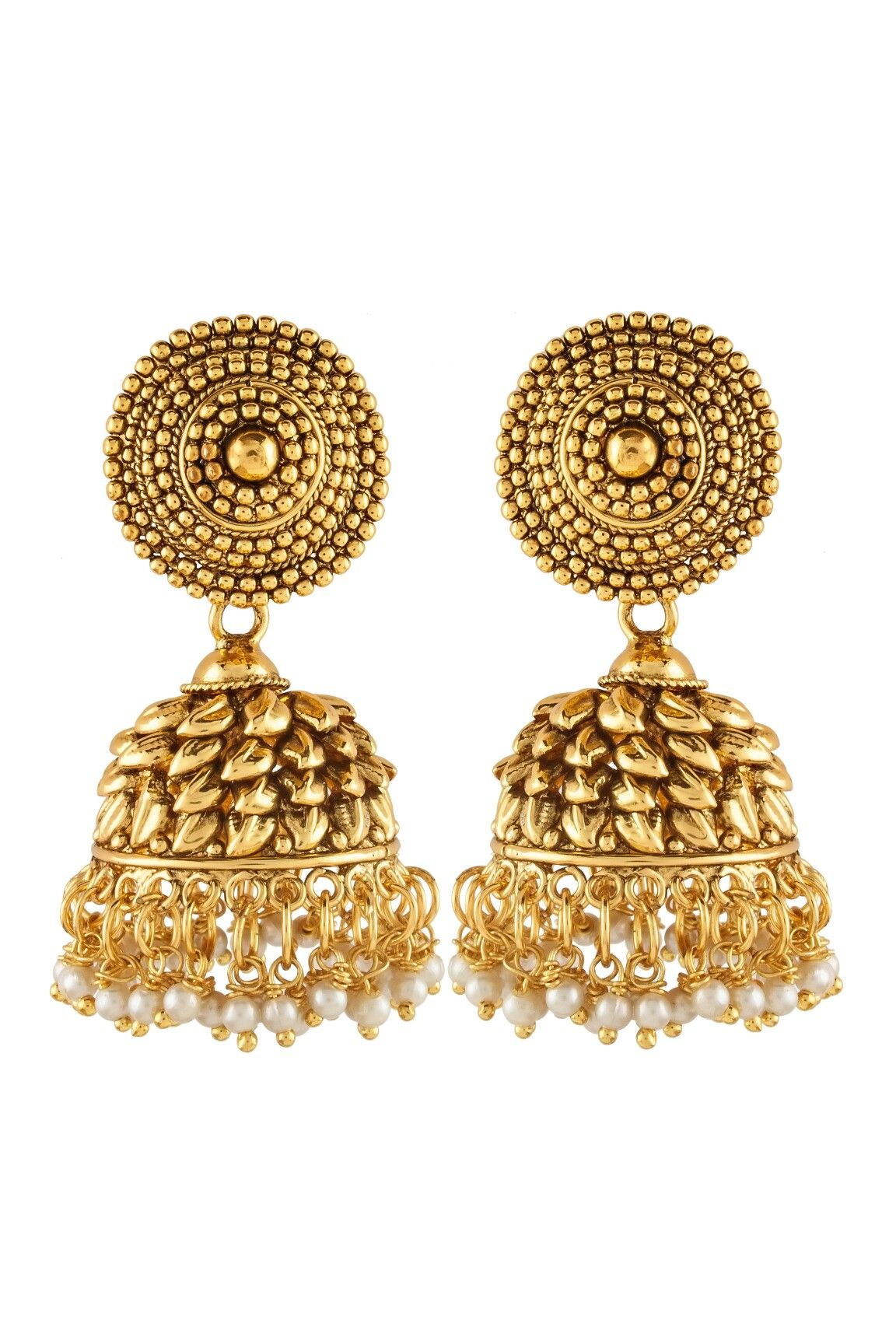 5c64c7a3a Antique Gold Plated Big size jhumka Earrings Price Rs.650 Contact or whtsup  on +918080256582 #antique #copper #jhumki #earring #south #indian #style  #jhumki ...
