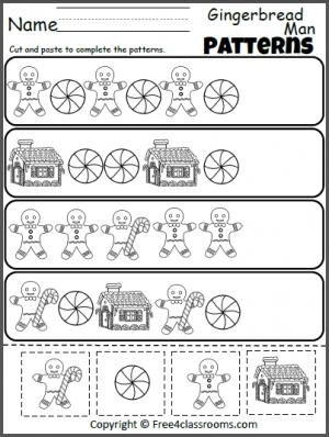 Math Worksheets gingerbread math worksheets : Free Gingerbread Man Patterns Cut and Paste worksheet. Fun ...