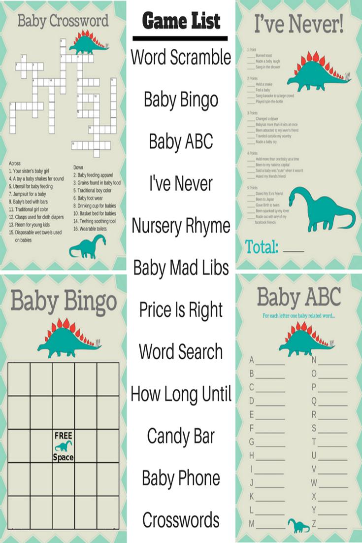 Dinosaur Baby Shower Printable Games In 2018 Printmybabyshower Com