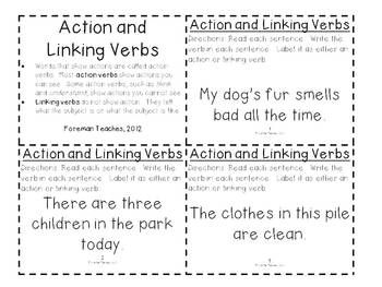 Action And Linking Verbs Task Cards Linking Verbs Verb Task Cards Teaching Writing