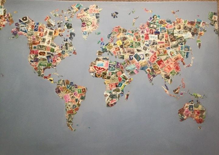 World map collage in postage stamps map collage world map collage in postage stamps gumiabroncs Images