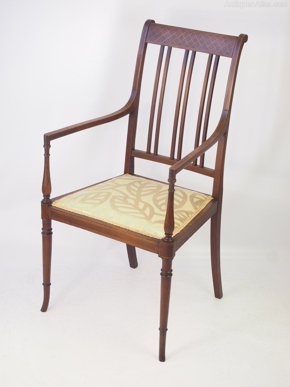 Edwardian Mahogany Inlaid Open Armchair Antiques Atlas