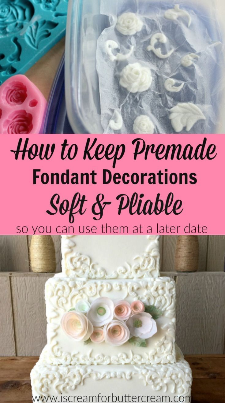 I love making fondant decorations ahead of time. It really lessons the stress. So I came up with a way to keep premade fondant decorations soft and pliable for weeks, so they're ready when I need them.