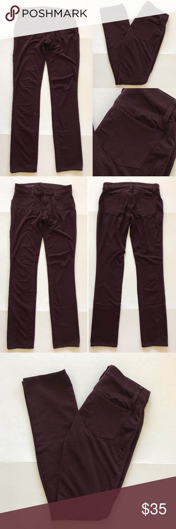 """[Ann Taylor] """"Ponte Skinny"""" women's pants 4 [Ann Taylor] """"Ponte Skinny"""" women's pants 4 •🆕listing •good pre-owned condition •burgundy color •length 32.5"""" •flat front waist measures about 15.5"""" •may run a size bigger, may fit size 6 best •material 68% rayon 28% nylon 4% spandex, most comfortable material •good stretch to hug curves •offers and bundles welcomed using the features Ann Taylor Pants"""