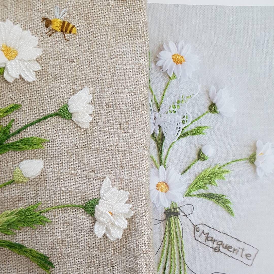 마리거트 부케.#부케자수 #프랑스자수#embroidery#needlework #handembroidery #stiching