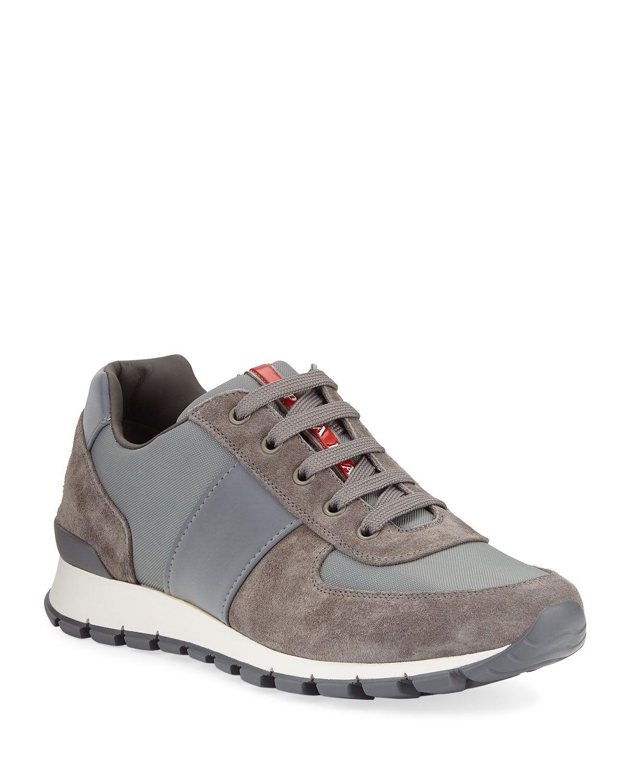 PRADA MEN'S SUEDE TRAINER SNEAKERS. #prada #shoes | My