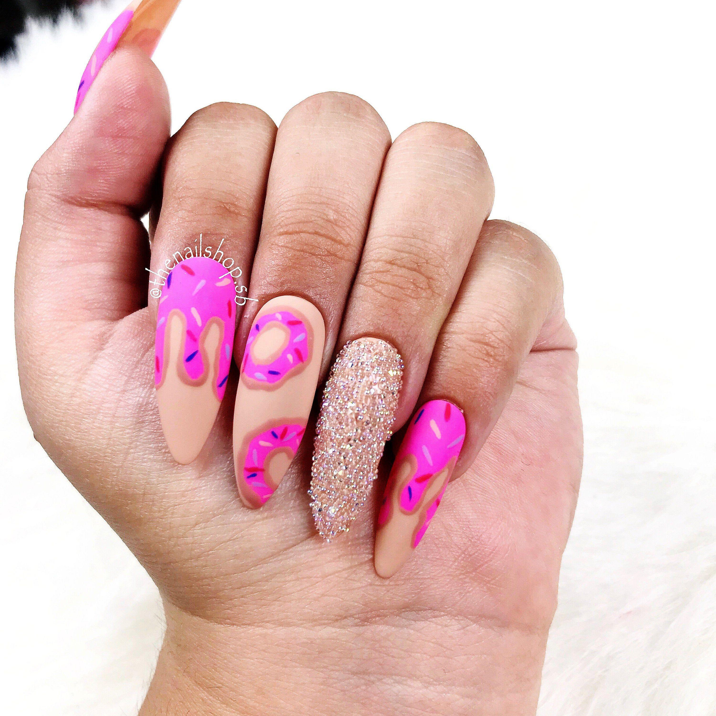 Donut Fantasy Nails  Pink Nails  Hot Pink Nails  Dripping | Etsy