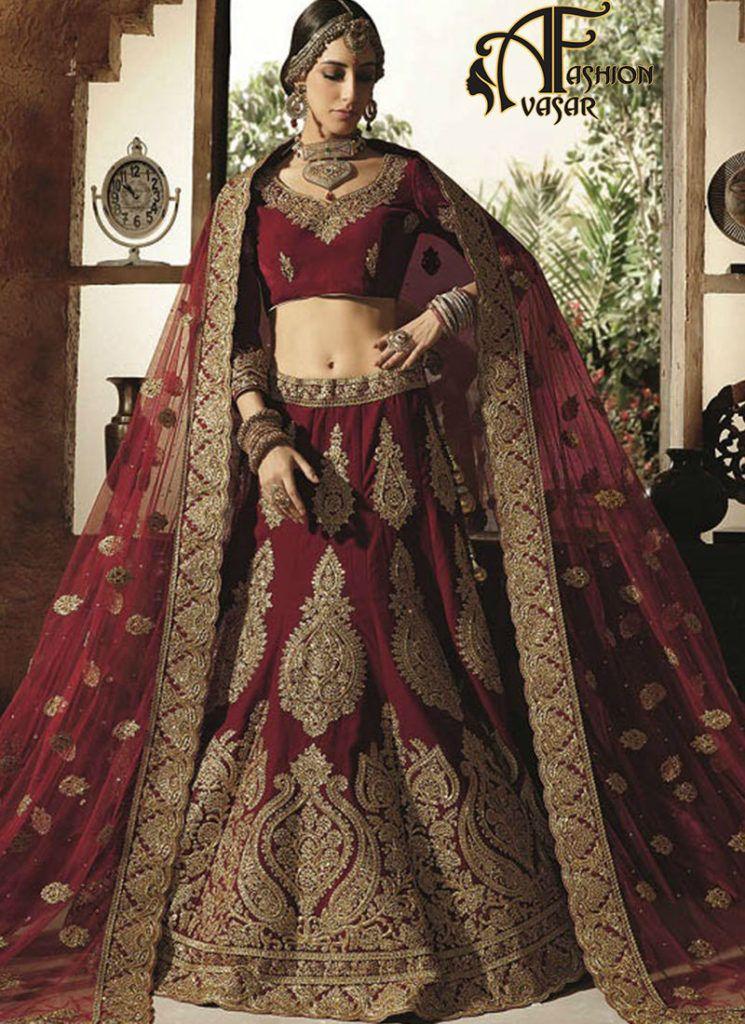 8435161c92 Indian Wedding Bridal Maroon Velvet Lehenga Choli | lehengacholi ...