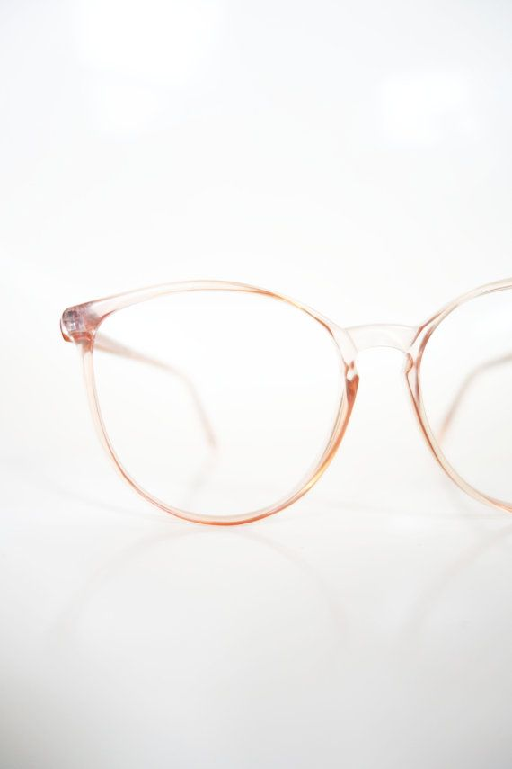 72d4728a3d 1980s Round Pink Eyeglasses Vintage Pastel Cotton Candy Clear Wayfarer 80s  Eighties Glasses Optical Frames Womens Ladies Deadstock NOS