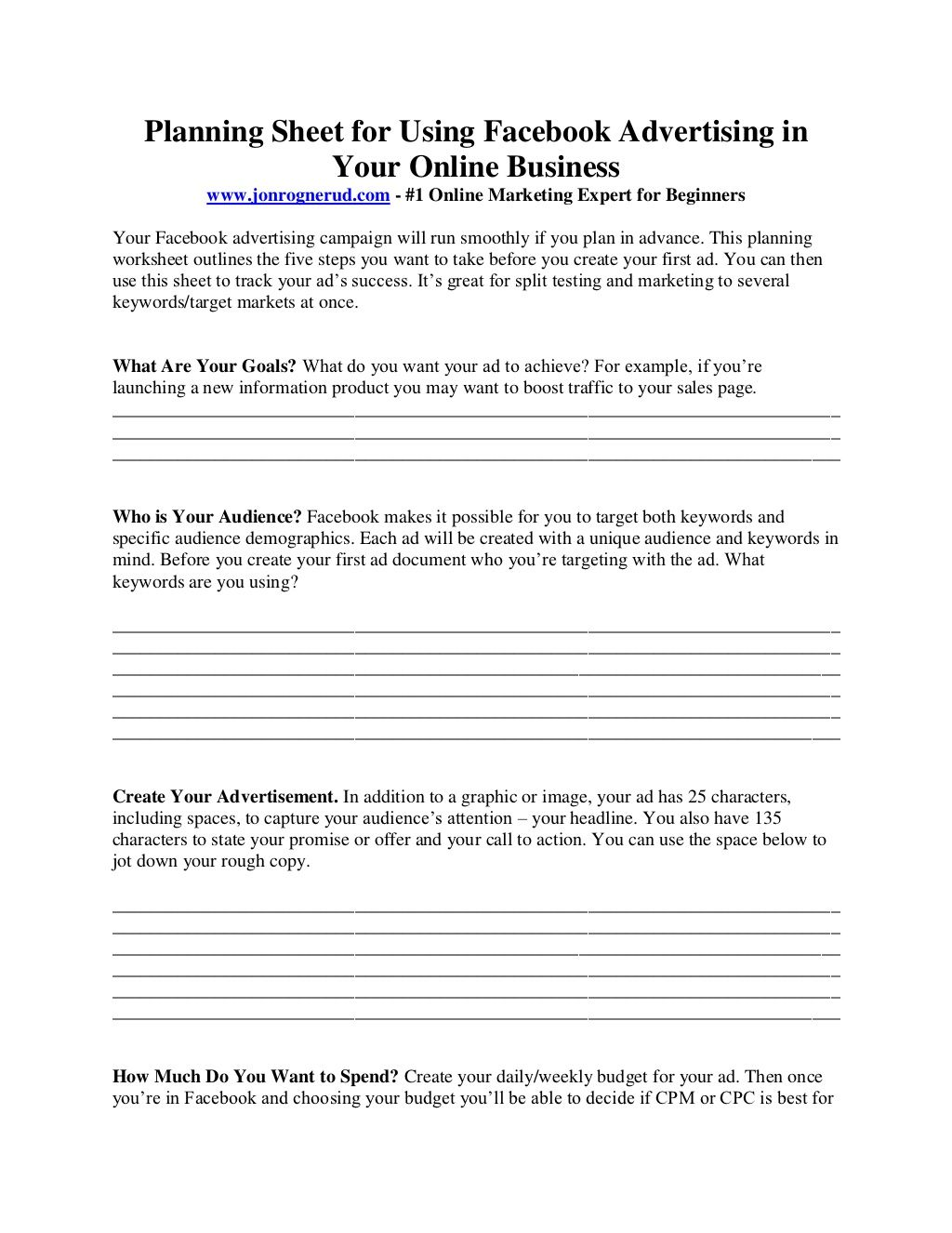 Facebook Ads Planning Worksheet For Small Business Middle School Books Book Report Templates Middle School