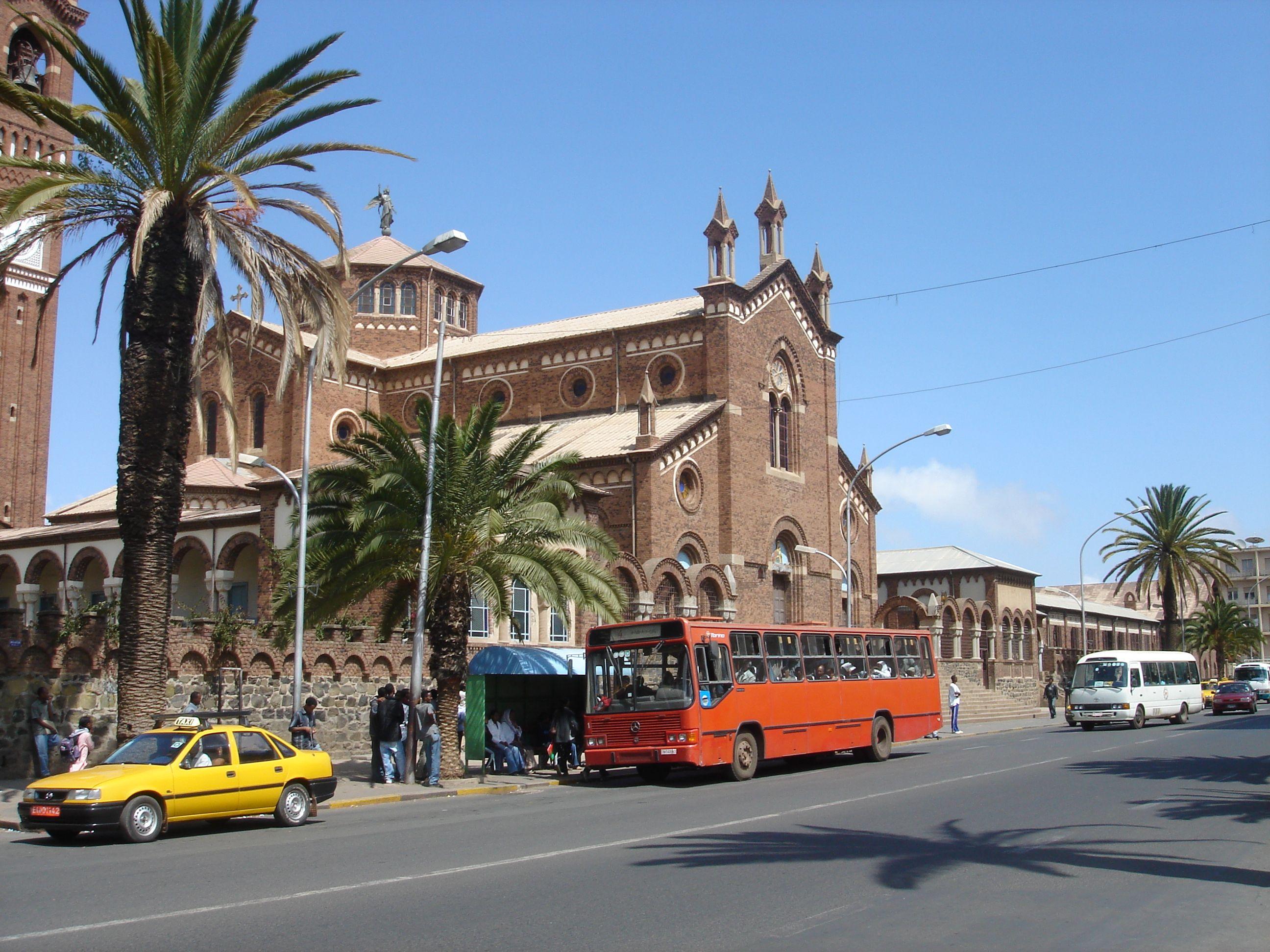 Cattedrale e la chiesa cattolica di Asmara,Eritrea si trova in centro