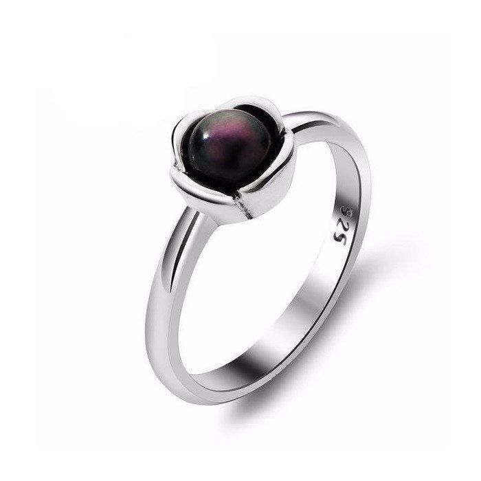 Black Freshwater Pearl Scalloped Sterling Silver Ring